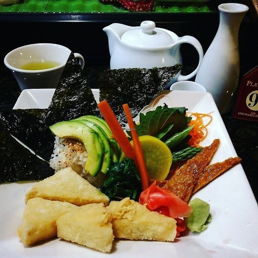 """Photo of Zen of Sushi  by <a href=""""/members/profile/AmyFord"""">AmyFord</a> <br/>Agedashi Tofu Chicrashi Sushi Combo is completely Vegan, Gluten-free non-GMO <br/> December 30, 2017  - <a href='/contact/abuse/image/108202/340866'>Report</a>"""
