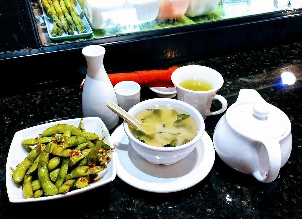 """Photo of Zen of Sushi  by <a href=""""/members/profile/AmyFord"""">AmyFord</a> <br/>The addictive Spicy Edamame and Miso soup with Sake and Green tea <br/> December 30, 2017  - <a href='/contact/abuse/image/108202/340878'>Report</a>"""