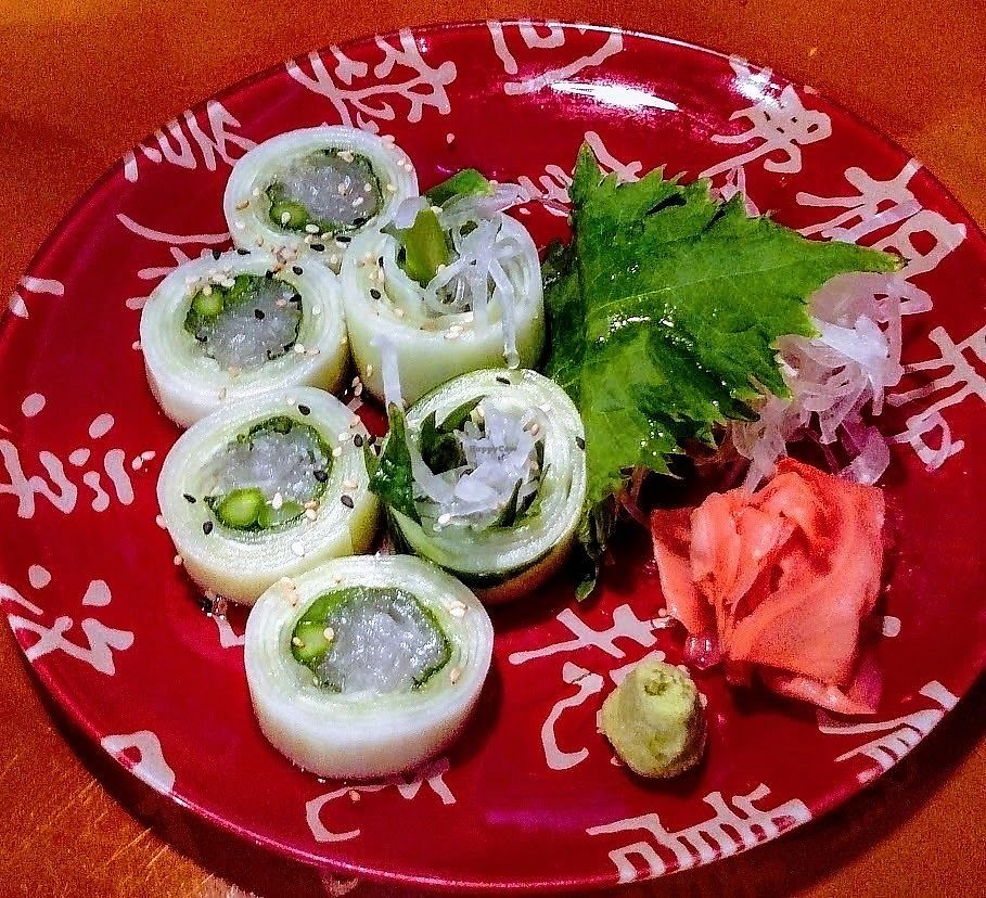 """Photo of Zen of Sushi  by <a href=""""/members/profile/AmyFord"""">AmyFord</a> <br/>Cucumber wrapped Daikon and Asparagus <br/> December 30, 2017  - <a href='/contact/abuse/image/108202/340922'>Report</a>"""