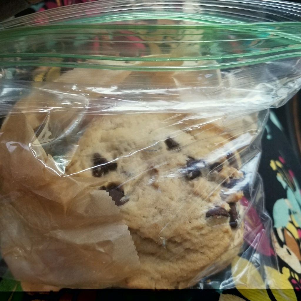 """Photo of Santana's Vegan Grill  by <a href=""""/members/profile/KarizmaticVegan"""">KarizmaticVegan</a> <br/>Chocolate Chip Cookie <br/> January 5, 2018  - <a href='/contact/abuse/image/108216/343317'>Report</a>"""