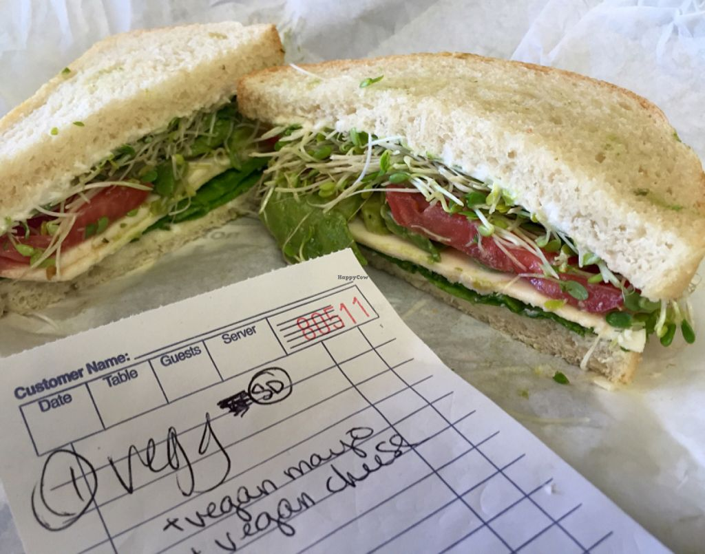 """Photo of Watson's Veggie Garden  by <a href=""""/members/profile/VeganCookieLover"""">VeganCookieLover</a> <br/>vegg sandwich with vegan mayo, vegan cheese <br/> July 12, 2016  - <a href='/contact/abuse/image/10822/159477'>Report</a>"""