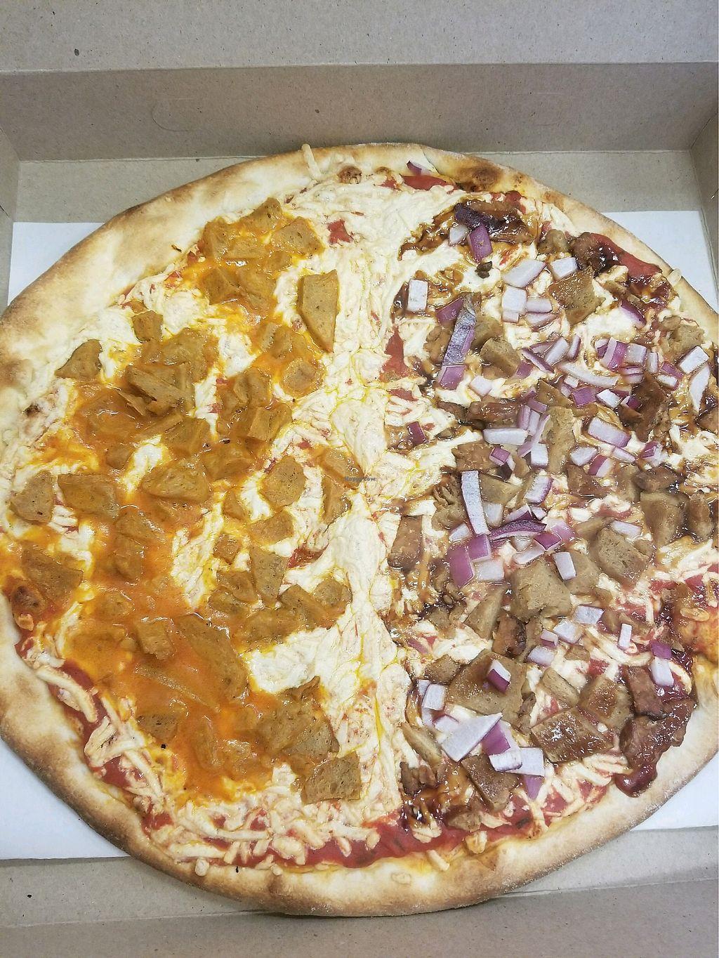 """Photo of Pizza Mia  by <a href=""""/members/profile/ErinO%E2%80%99Brien"""">ErinO'Brien</a> <br/>Half buffalo seitan fajita, half smoked tempeh fajita!  <br/> January 8, 2018  - <a href='/contact/abuse/image/108250/344181'>Report</a>"""
