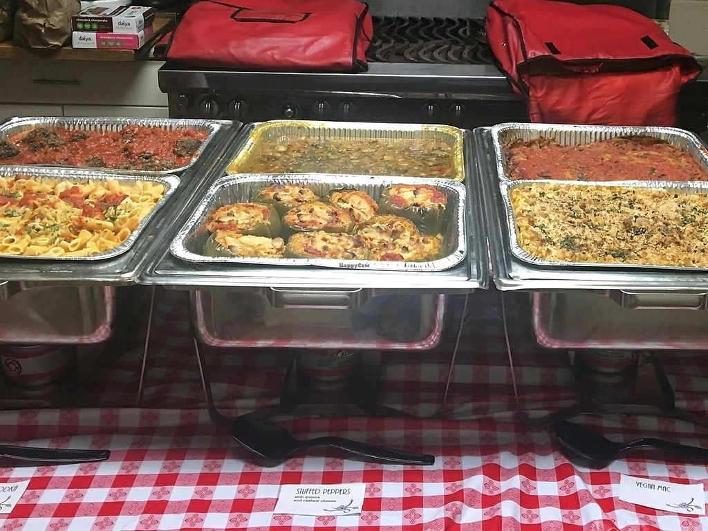 """Photo of Pizza Mia  by <a href=""""/members/profile/MichaelBarootjian"""">MichaelBarootjian</a> <br/>Offsite Vegan Catering. First row from left to right: Penne Ala Vodka, Stuffed Peppers, Baked Mac. Second Row: Mushroom Meatballs, Potato Mushroom Curry, Baked Eggplant <br/> January 8, 2018  - <a href='/contact/abuse/image/108250/344474'>Report</a>"""