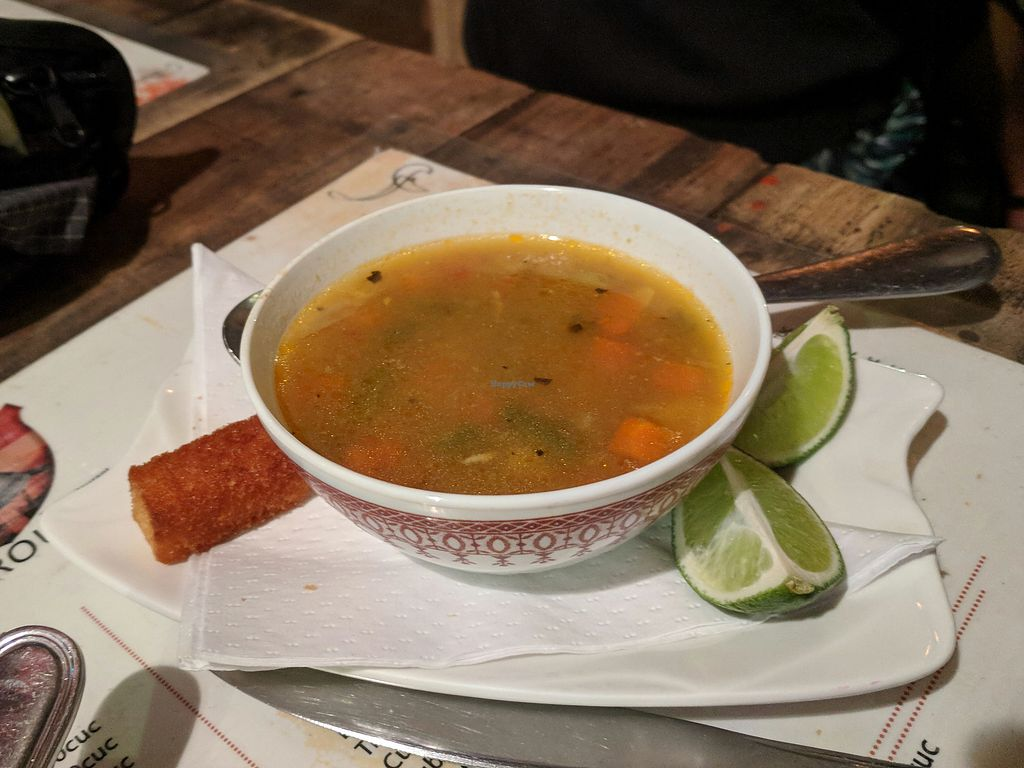 """Photo of Bar Cafe Restaurante Giroud J&J  by <a href=""""/members/profile/zenmaestro"""">zenmaestro</a> <br/>veggie soup. vegan. basically, it's minestrone soup <br/> January 2, 2018  - <a href='/contact/abuse/image/108284/342285'>Report</a>"""