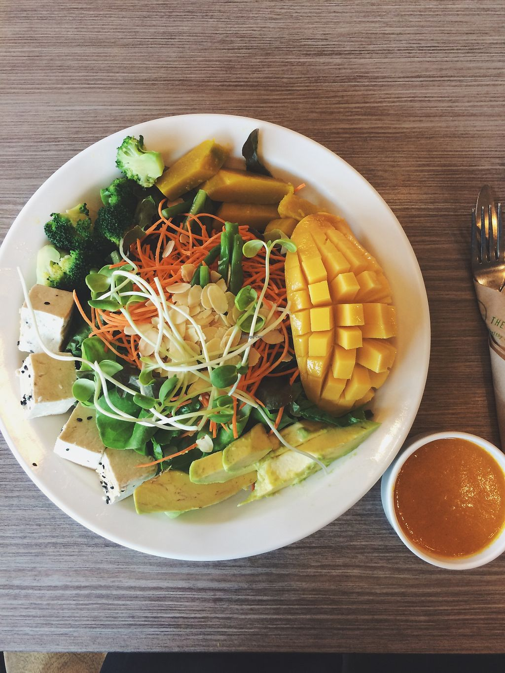 """Photo of The Salad Concept  by <a href=""""/members/profile/peasandunderstanding"""">peasandunderstanding</a> <br/>A DIY salad with added toppings such as mango, blanched almonds, pumpkin, avocado and some (rather bland) tofu.  <br/> April 28, 2018  - <a href='/contact/abuse/image/108286/391976'>Report</a>"""
