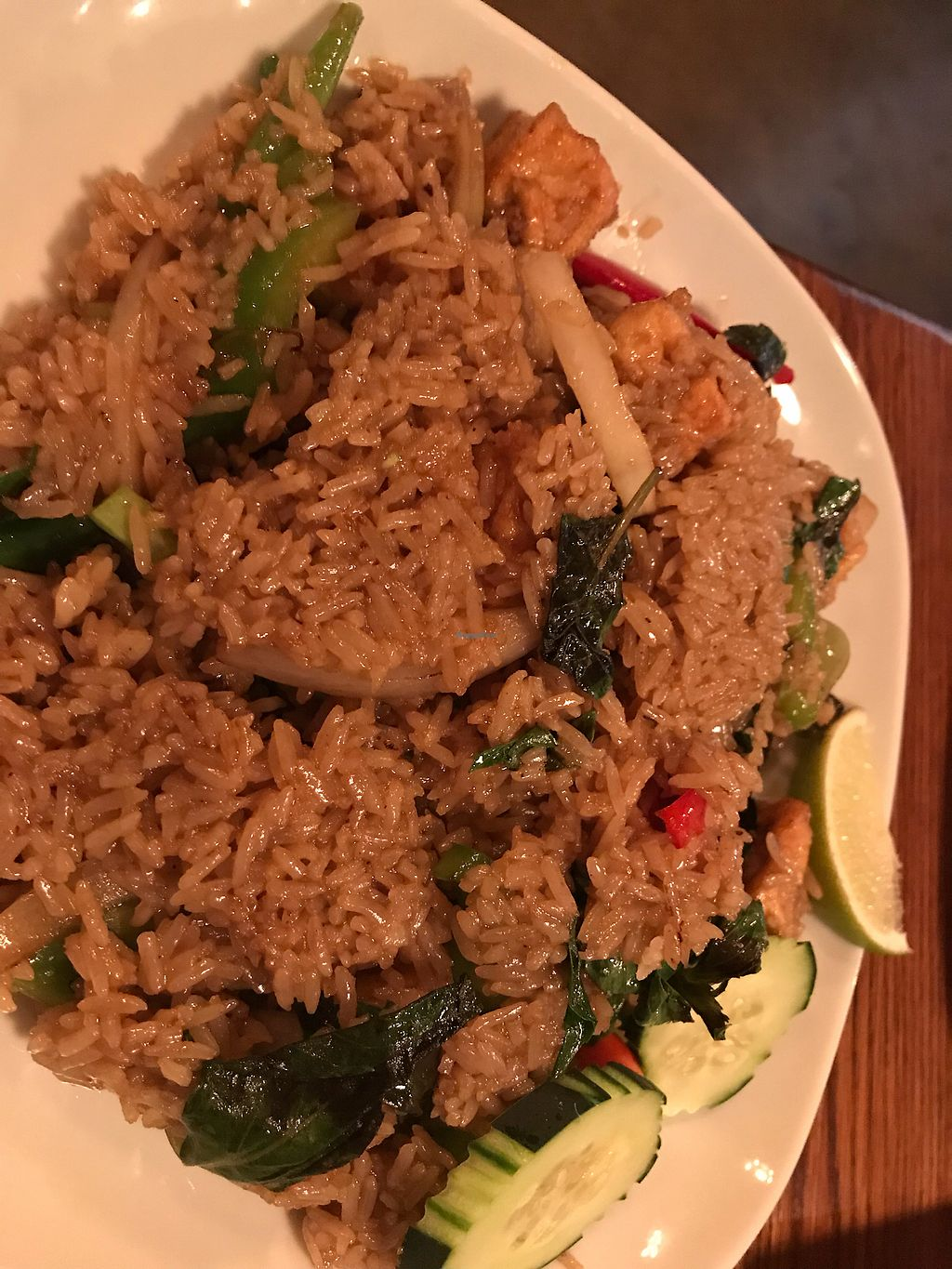 """Photo of 90 Degree Bangkok Cafe & Bar  by <a href=""""/members/profile/Arti"""">Arti</a> <br/>spicy basil fried rice (skipped egg for vegan) <br/> May 9, 2018  - <a href='/contact/abuse/image/108287/397273'>Report</a>"""