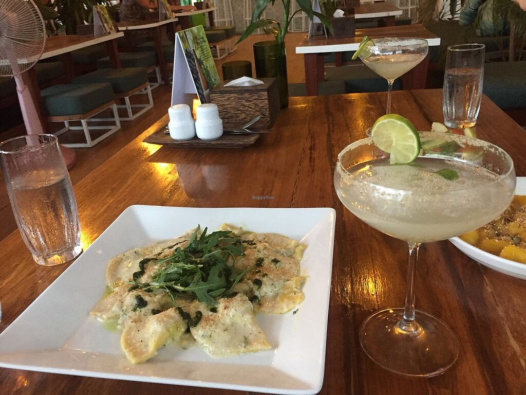 """Photo of Green-Go Garden  by <a href=""""/members/profile/TaylorKingham"""">TaylorKingham</a> <br/>Mushroom ravioli and ginger slush cocktail <br/> May 21, 2018  - <a href='/contact/abuse/image/108307/402893'>Report</a>"""