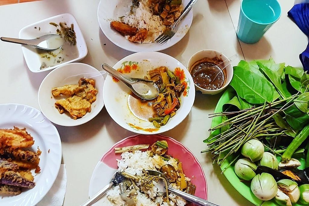 """Photo of Vegetarian Food - Mueang Trang Park  by <a href=""""/members/profile/LenaM"""">LenaM</a> <br/>We arrived right before closing (6pm), so they gave us everything they had left for 60baht per person. It included fried bananas, sweet potatoes, green bean curry, and some raw veggies to dip in peanut sauce <br/> February 4, 2018  - <a href='/contact/abuse/image/108353/354837'>Report</a>"""