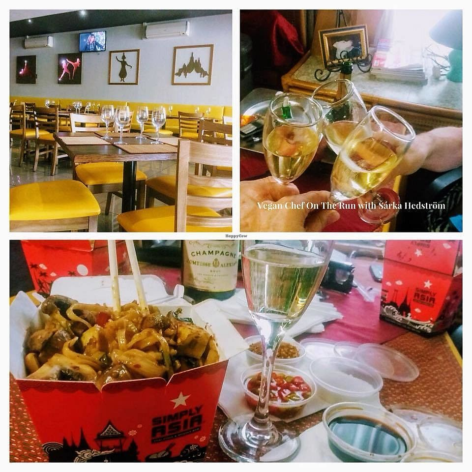 """Photo of Simply Asia - Boskruin  by <a href=""""/members/profile/%C5%A0%C3%A1rkaHedstr%C3%B6m"""">ŠárkaHedström</a> <br/>Top left, a view of their establishment. Bottom - they do fantastic vegan take away. Top right - rest assured when you arrive home, to open that delicious meal, and gorgeous bottle of vegan bubbly, you have been taken care of well !  <br/> January 7, 2018  - <a href='/contact/abuse/image/108357/343861'>Report</a>"""