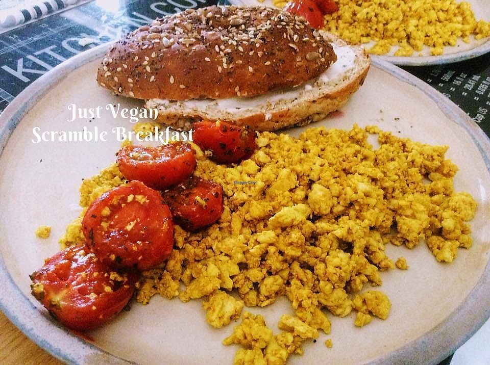 """Photo of Just Vegan  by <a href=""""/members/profile/%C5%A0%C3%A1rkaHedstr%C3%B6m"""">ŠárkaHedström</a> <br/>Super delicious breakfasts provided by Just Vegan on request at cost. Here, gorgeous tofu scramble, Mediterranean style vine tomato fry, and brown seeded roll with vegan cream cheese.   Over and above well organised informative sessions on veganism, fantastic breakfast intro's ! Memorable and life changing.  Worth clearing the calendar for.   <br/> January 3, 2018  - <a href='/contact/abuse/image/108364/342586'>Report</a>"""