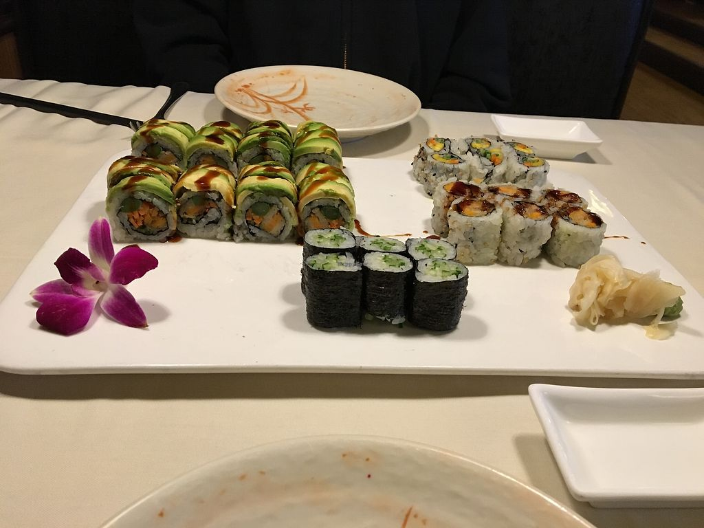 """Photo of Green Tea  by <a href=""""/members/profile/sophiefrenchfry"""">sophiefrenchfry</a> <br/>Veggie tiger roll, mango-carrot-cucumber roll, sweet potato roll, and... more a cucumber roll <br/> April 16, 2018  - <a href='/contact/abuse/image/108409/386805'>Report</a>"""
