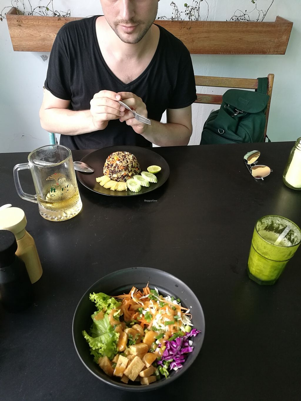 "Photo of Green Shelter  by <a href=""/members/profile/Lyssi"">Lyssi</a> <br/>Fried rice with pineapple (150b) and veggie bowl. Pineapple mint juice shale - amazing <br/> February 26, 2018  - <a href='/contact/abuse/image/108418/364136'>Report</a>"