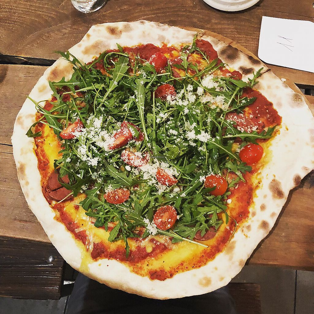 """Photo of Pizza Loft  by <a href=""""/members/profile/ffion"""">ffion</a> <br/>Parma a'la vegan with extra 'salami' (not the best tasting vegan cheese) <br/> March 16, 2018  - <a href='/contact/abuse/image/108447/371339'>Report</a>"""
