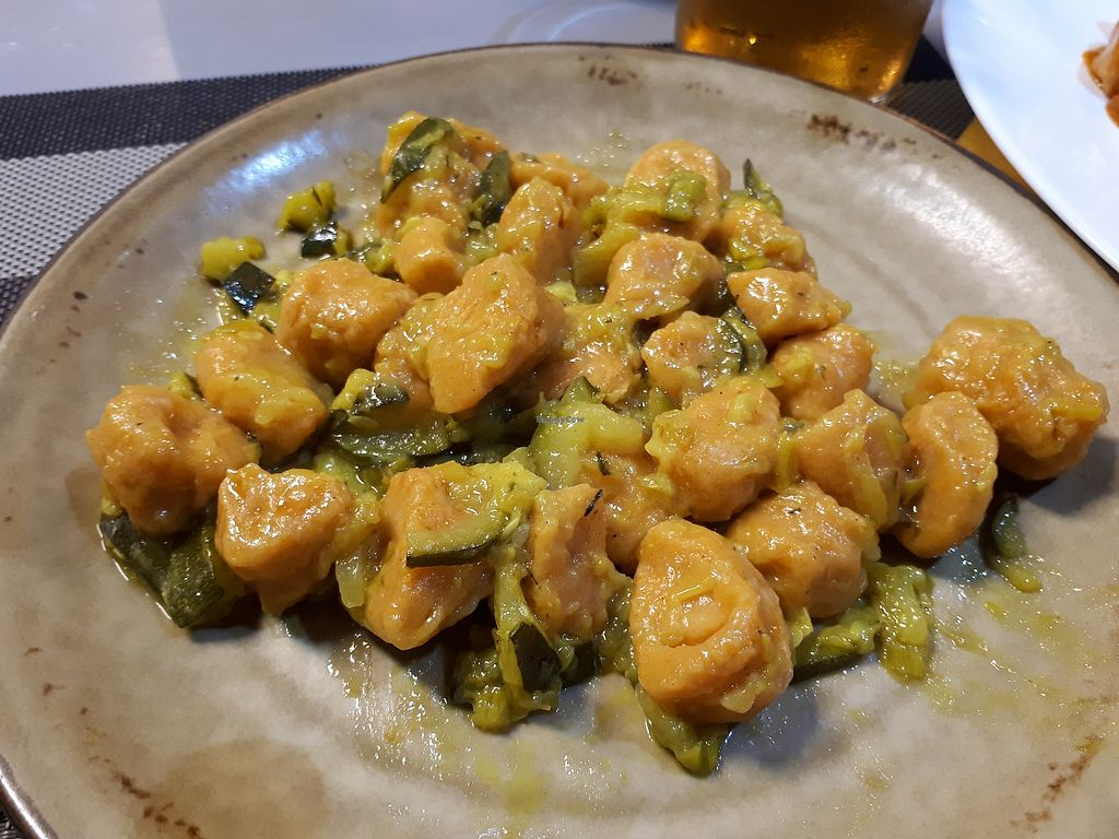 """Photo of Casa Veggy  by <a href=""""/members/profile/FulviaGherardelli"""">FulviaGherardelli</a> <br/>Sweet potato Gnocchi with courgettes, onions and leek <br/> April 3, 2018  - <a href='/contact/abuse/image/108451/380131'>Report</a>"""