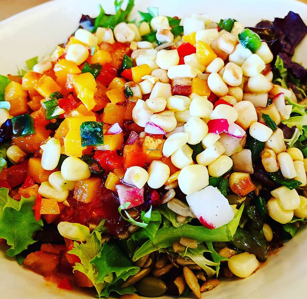 """Photo of Tocabe  by <a href=""""/members/profile/Mtndarilia"""">Mtndarilia</a> <br/>Posu Bowl with red quinoa, wheatberry, vegan black beans, lettuce, sweet corn salsa (sweet corn, radish, poblano, green onions), hot tomato salsa (tomatoes, red onion, roasted jalapeno, roasted habanero, chili powder, cilantro, garlic), seed mix (pumpkin and sunflower seeds with cranberry) and butternut squash salsa (butternut squash, red onion, serrano peppers) <br/> March 5, 2018  - <a href='/contact/abuse/image/108576/367215'>Report</a>"""