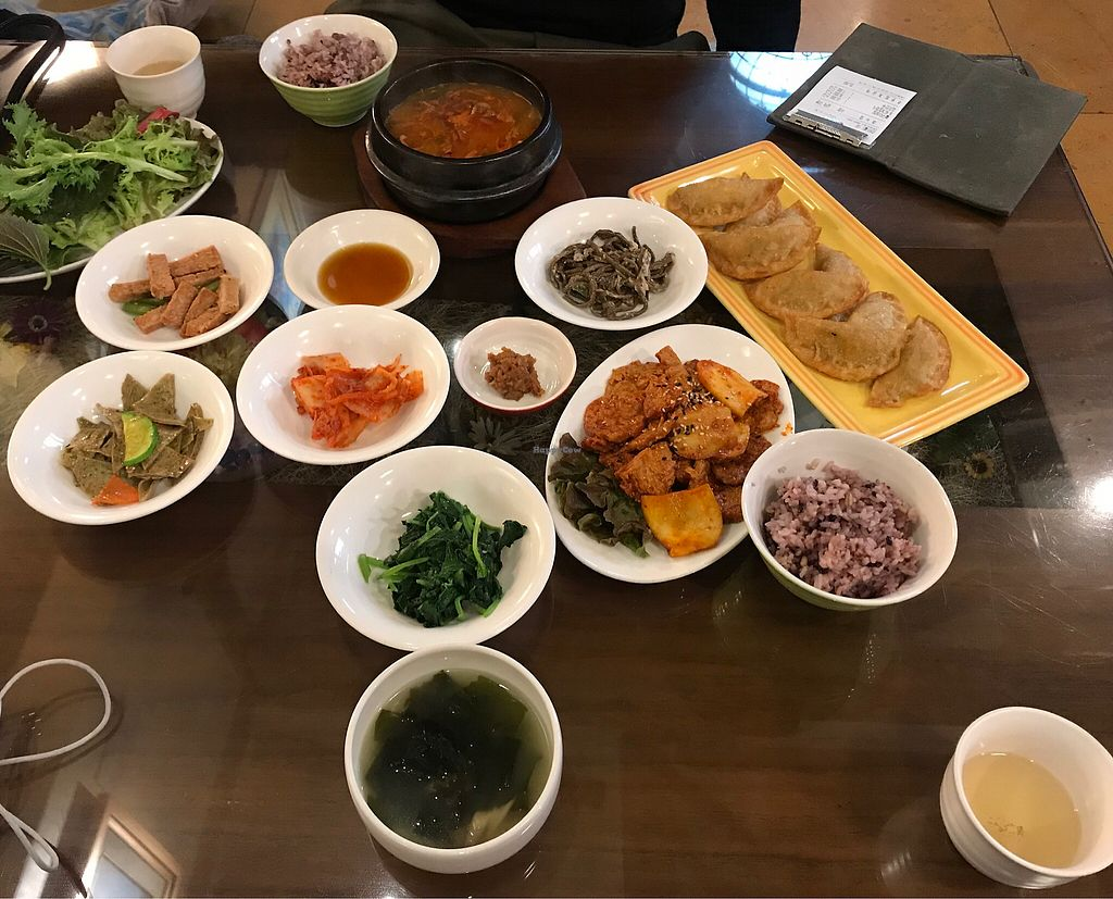 "Photo of Oh Se Gae Hyang - 오세계향  by <a href=""/members/profile/vegetariangirl"">vegetariangirl</a> <br/>Three dishes, the soup came with 5 aides, also bbq faux meats and dumplings. Total price was 25,000 Korean.  <br/> January 8, 2018  - <a href='/contact/abuse/image/10860/344324'>Report</a>"