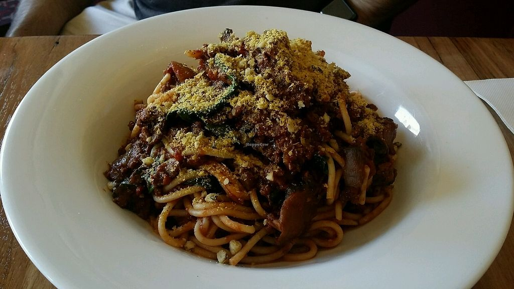 """Photo of Alpine Hotel  by <a href=""""/members/profile/JenMeisterActs"""">JenMeisterActs</a> <br/>vegan spaghetti bolognaise, from the regular menu <br/> April 8, 2018  - <a href='/contact/abuse/image/108634/382327'>Report</a>"""