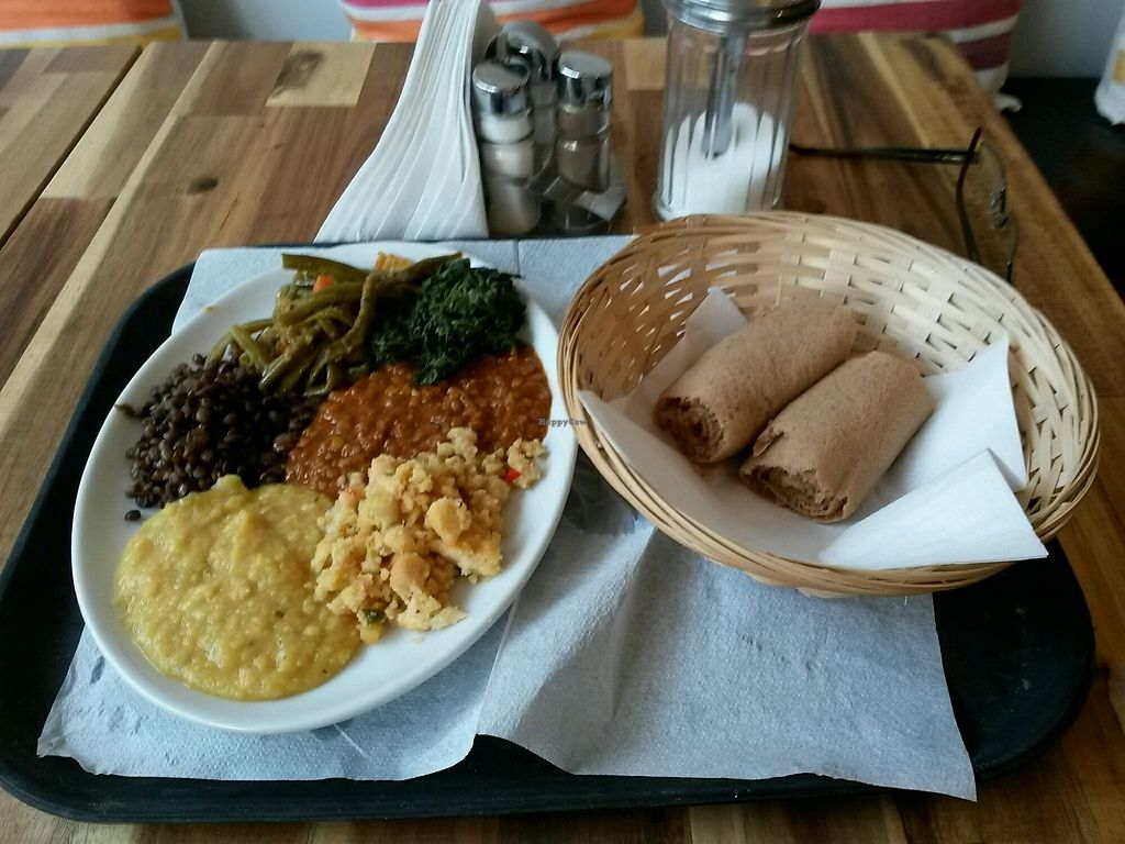 """Photo of Engocha  by <a href=""""/members/profile/M_J"""">M_J</a> <br/>Selection of 5 dishes + injera <br/> January 28, 2018  - <a href='/contact/abuse/image/108652/351769'>Report</a>"""
