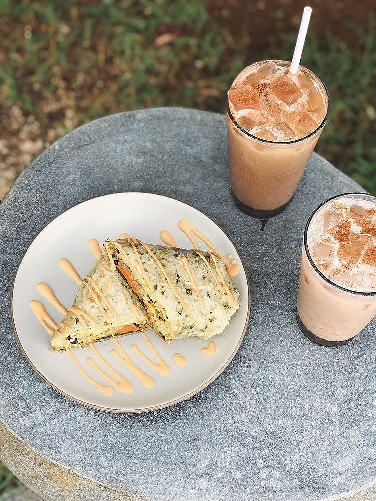 """Photo of Trilogy Coffee  by <a href=""""/members/profile/LauraYasmine"""">LauraYasmine</a> <br/>Vegan Breakfast Burrito with iced chais <br/> January 25, 2018  - <a href='/contact/abuse/image/108742/350708'>Report</a>"""