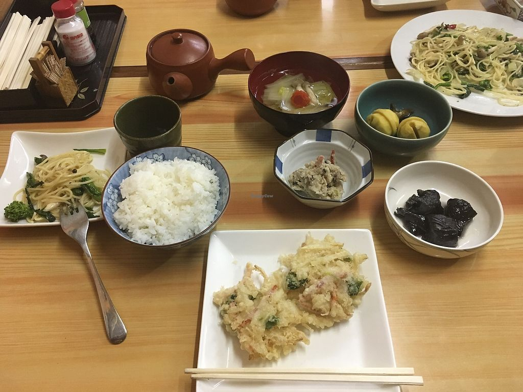 """Photo of Tsujigahana  by <a href=""""/members/profile/a.s."""">a.s.</a> <br/>Eggplant (black thing to the right), soup, veggies, vegetable tempura, pasta <br/> January 23, 2018  - <a href='/contact/abuse/image/108821/350056'>Report</a>"""