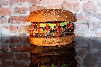 """Photo of Twisted Root Burger - Airport  by <a href=""""/members/profile/Squirrellypup"""">Squirrellypup</a> <br/>Vegabond-chickpea, black bean, brown rice & quinoa burger with sliced avocado and siracha <br/> January 8, 2018  - <a href='/contact/abuse/image/108827/344214'>Report</a>"""