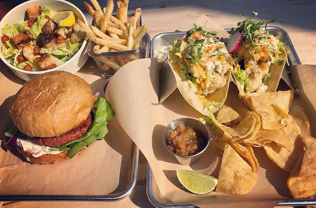 """Photo of Second Nature  by <a href=""""/members/profile/MelanieArce"""">MelanieArce</a> <br/>Cauliflower tacos, beyond burger, truffle fries, Cesar salad <br/> February 12, 2018  - <a href='/contact/abuse/image/108840/358472'>Report</a>"""