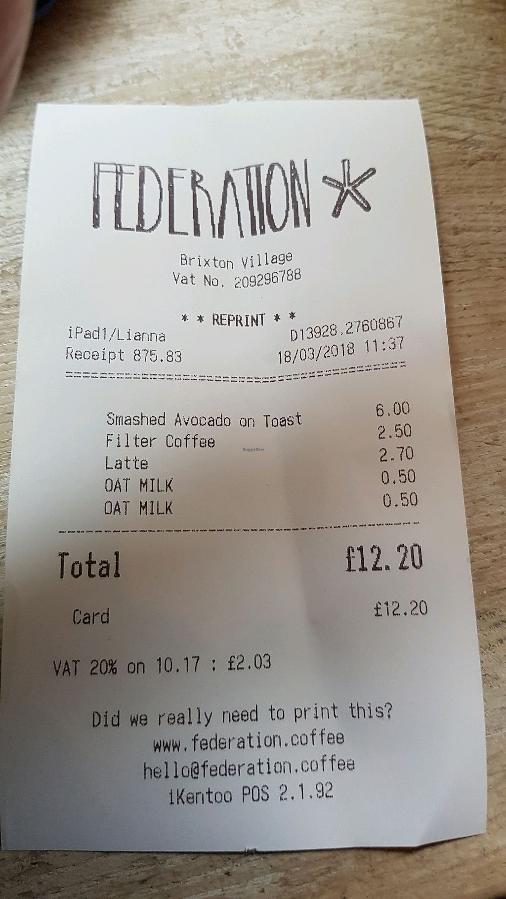 """Photo of Federation Coffee  by <a href=""""/members/profile/jollypig"""">jollypig</a> <br/>50p extra for vegans <br/> March 18, 2018  - <a href='/contact/abuse/image/108851/372370'>Report</a>"""