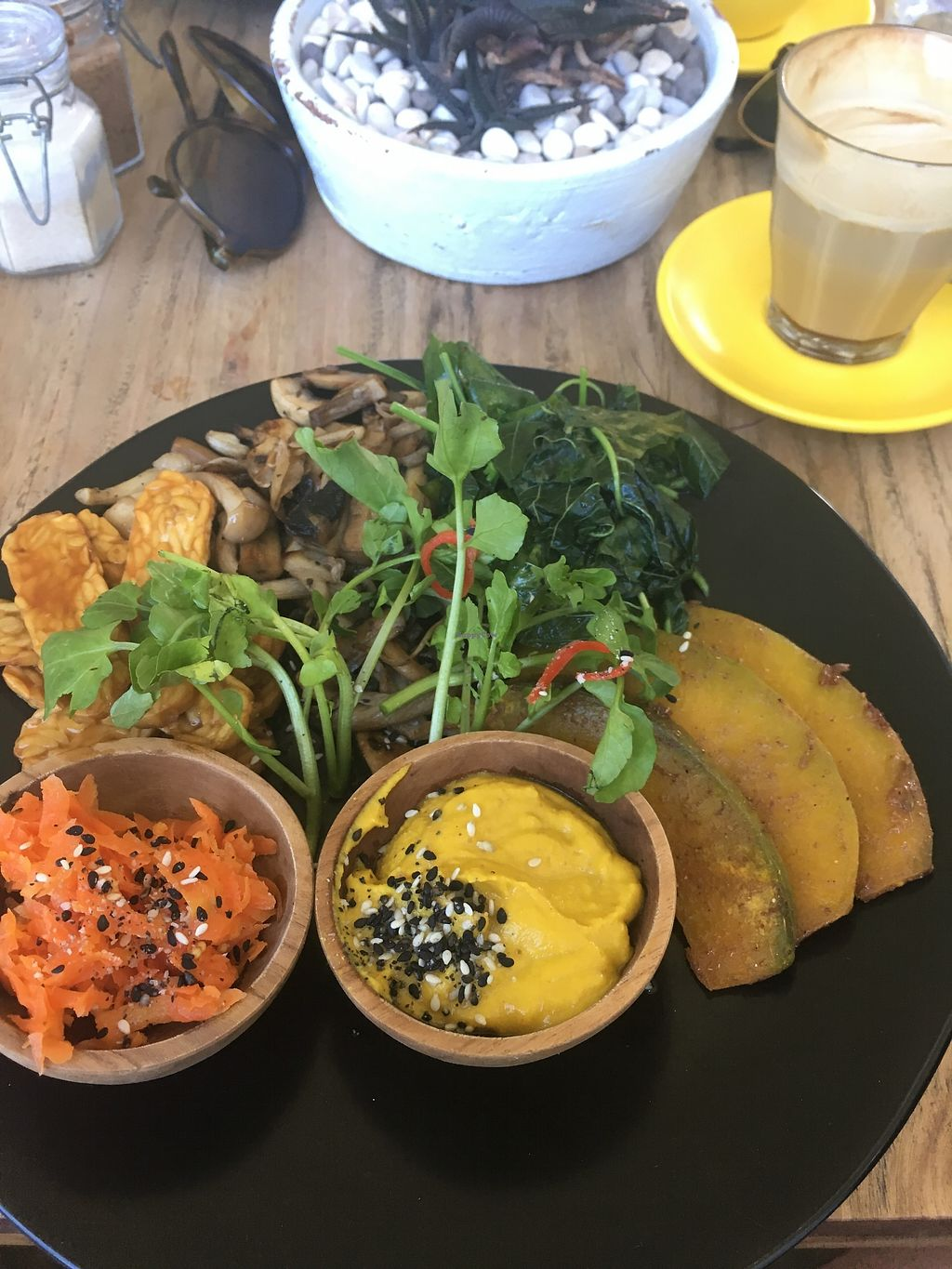 """Photo of Two Trees Eatery  by <a href=""""/members/profile/emmarosewitched"""">emmarosewitched</a> <br/>Build your own meal - BBQ tempeh, sautéed spinach and mushrooms, roasted pumpkin, fermented carrot, and turmeric hummus <br/> March 31, 2018  - <a href='/contact/abuse/image/108911/378644'>Report</a>"""