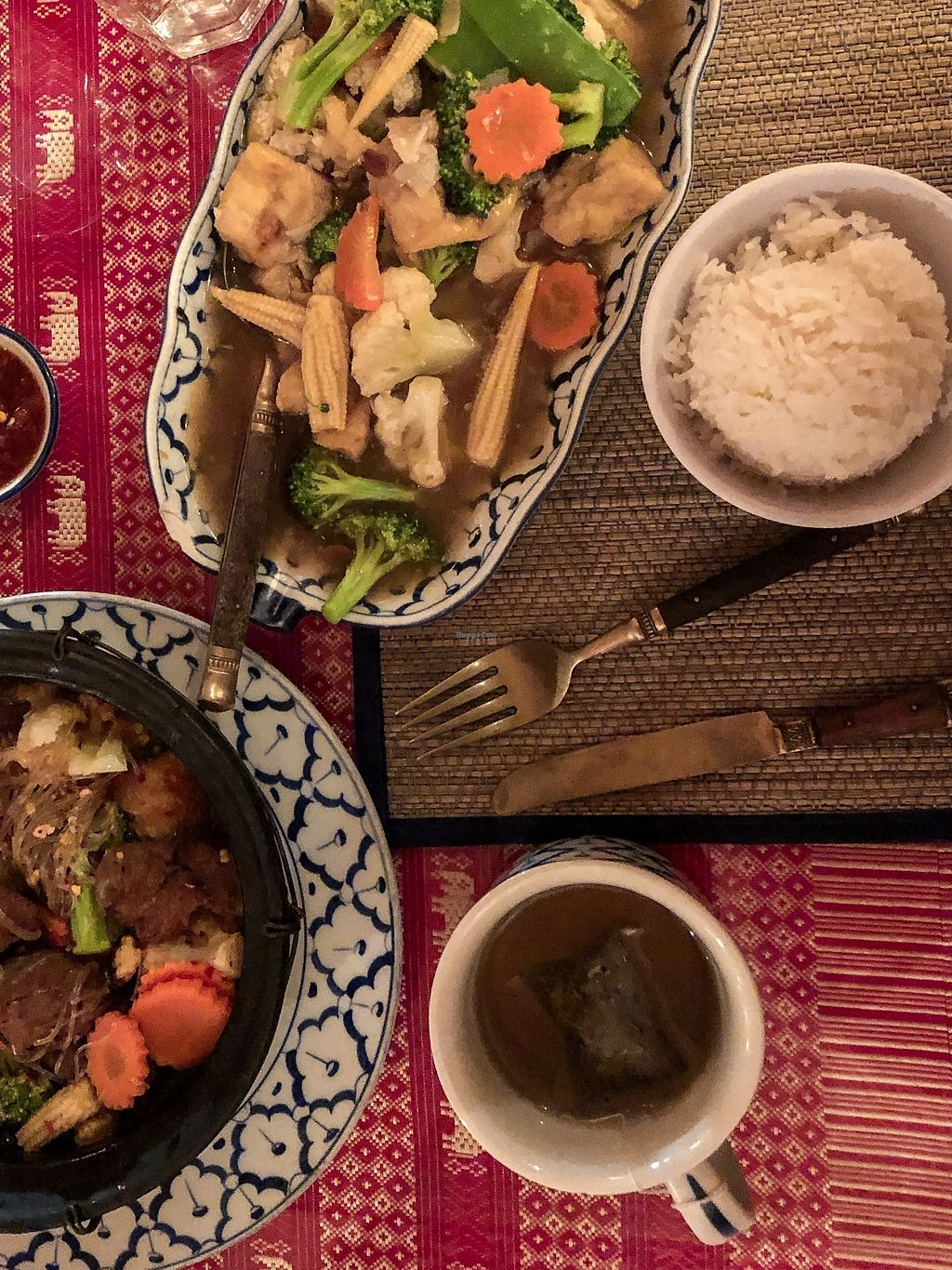 """Photo of Thai House  by <a href=""""/members/profile/BriggitteJ"""">BriggitteJ</a> <br/>Vegan duck with glass noddles in hot pot and Lad Na with vegetables and tofu.  <br/> January 7, 2018  - <a href='/contact/abuse/image/108912/343984'>Report</a>"""