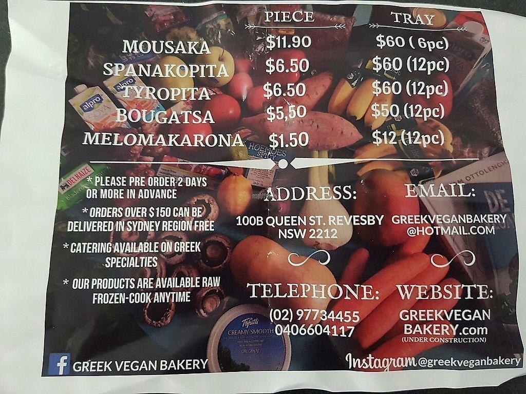"Photo of Greek Vegan Bakery  by <a href=""/members/profile/MathewPaull"">MathewPaull</a> <br/>menu <br/> February 12, 2018  - <a href='/contact/abuse/image/108963/358696'>Report</a>"