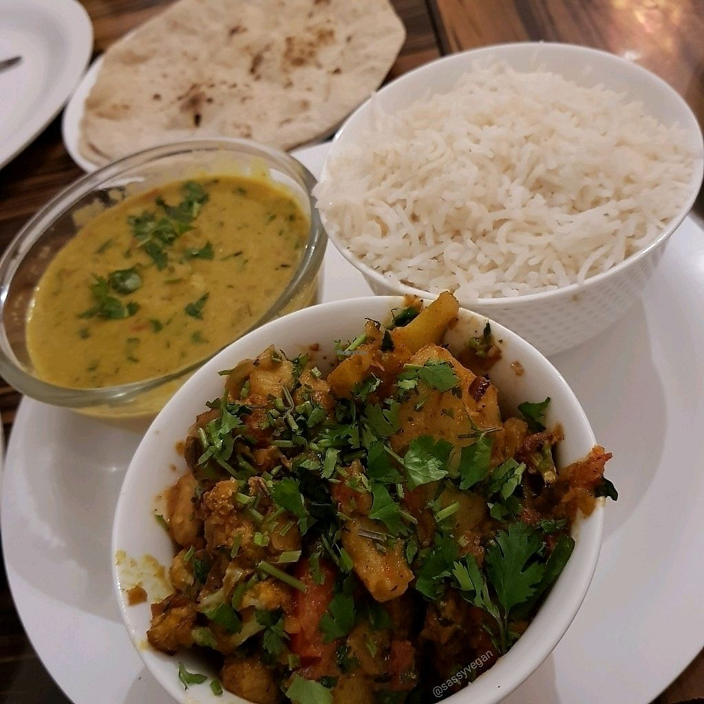 """Photo of Ira's Kitchen & Tea Room  by <a href=""""/members/profile/Sassyvegan"""">Sassyvegan</a> <br/>Dal and aloo gobi <br/> January 9, 2018  - <a href='/contact/abuse/image/108987/344588'>Report</a>"""