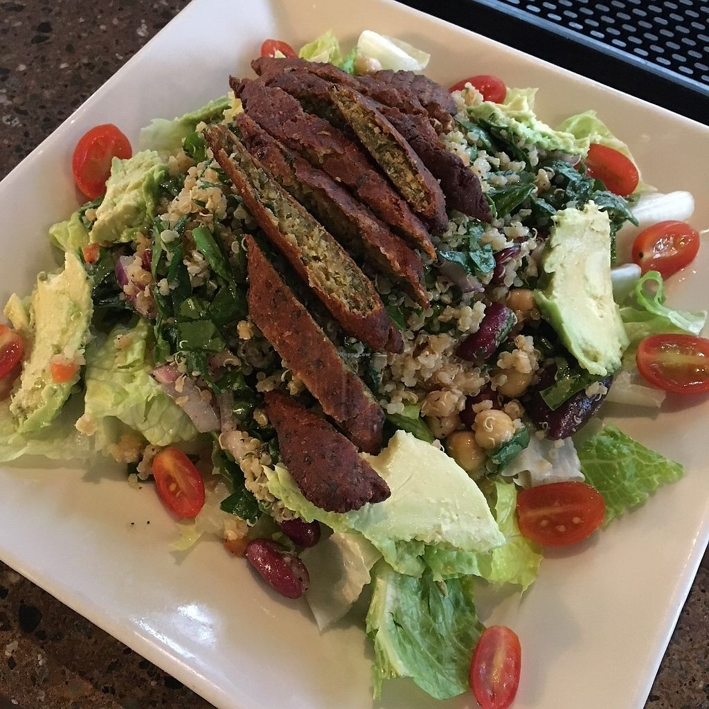 """Photo of Kafe Neo  by <a href=""""/members/profile/Jynn"""">Jynn</a> <br/>Quinoa salad, minus the feta cheese, makes it vegan. And with falafel added,  it's extra delicious!  <br/> February 12, 2018  - <a href='/contact/abuse/image/109049/358594'>Report</a>"""