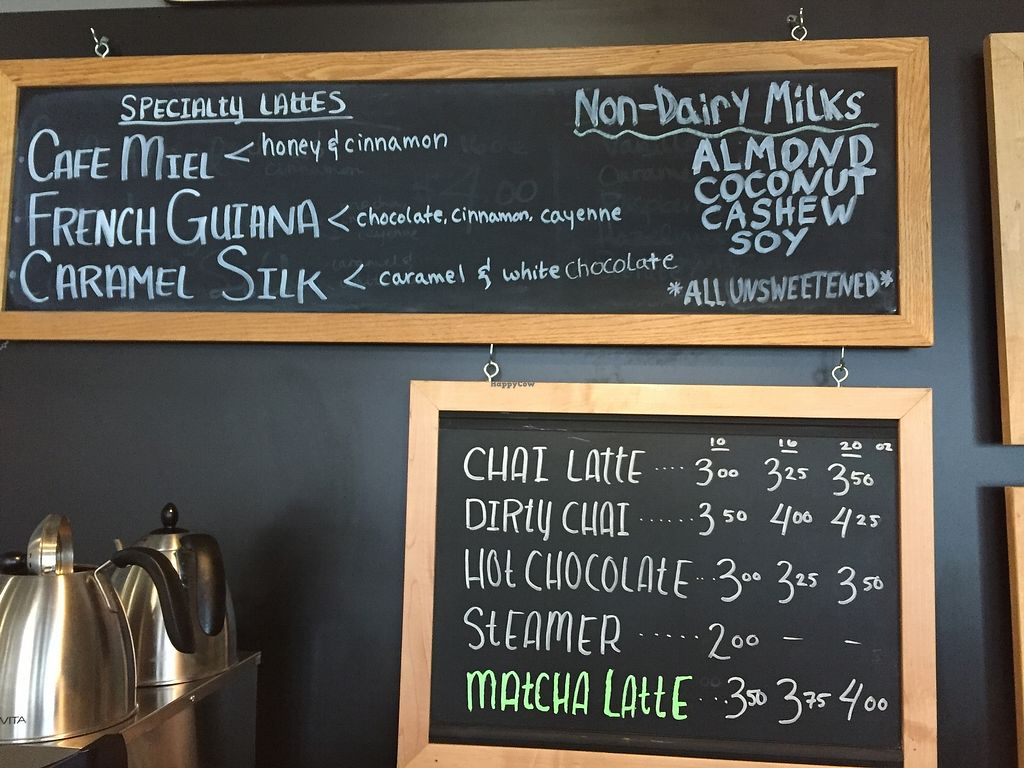 """Photo of Uncommon Grounds  by <a href=""""/members/profile/shellxvictoria"""">shellxvictoria</a> <br/>Espresso drink menu. Vegan milk options.  <br/> January 11, 2018  - <a href='/contact/abuse/image/109085/345270'>Report</a>"""