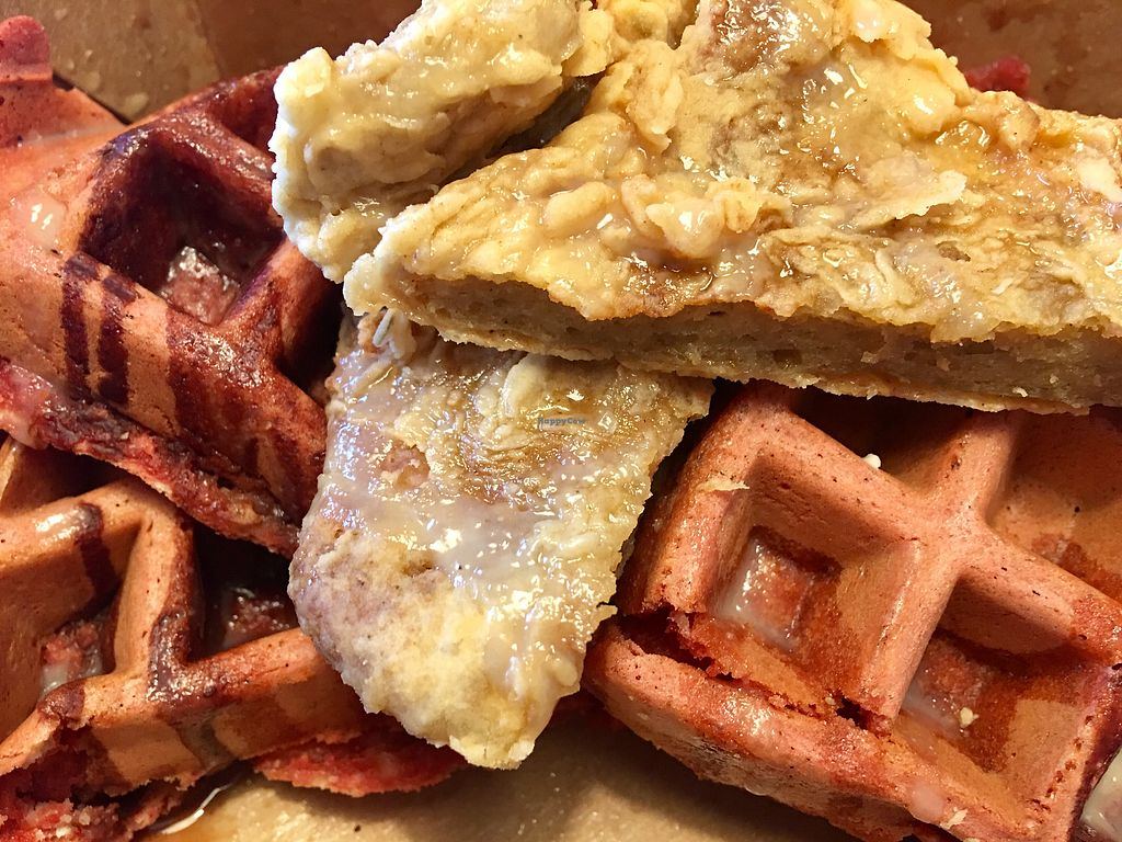 """Photo of Wildflower Vegan Co. Featuring Burnamup  by <a href=""""/members/profile/myra975"""">myra975</a> <br/>Chick*n & Waffles - Red Velvet ($17.50) <br/> January 16, 2018  - <a href='/contact/abuse/image/109093/347320'>Report</a>"""