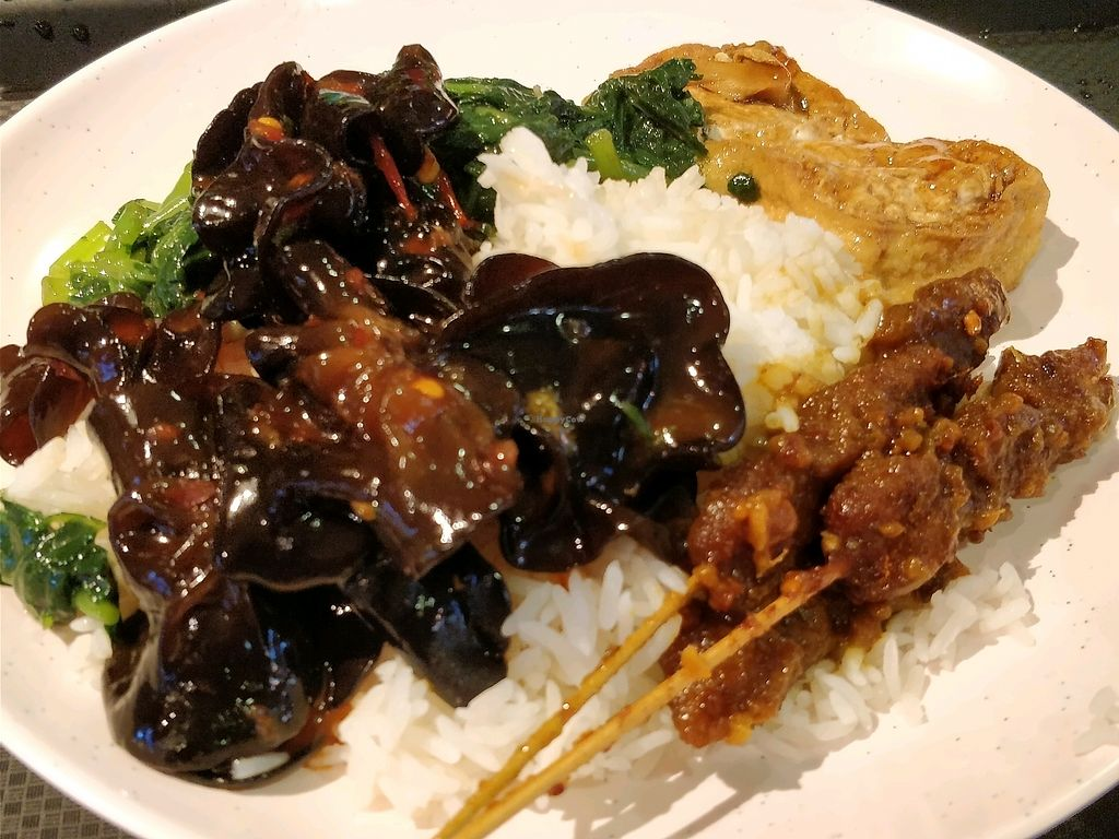 """Photo of Food Junction Vegetarian Stall  by <a href=""""/members/profile/JimmySeah"""">JimmySeah</a> <br/>economic rice with satay, black fungus, toufu and green vegetables  <br/> January 12, 2018  - <a href='/contact/abuse/image/109164/345734'>Report</a>"""