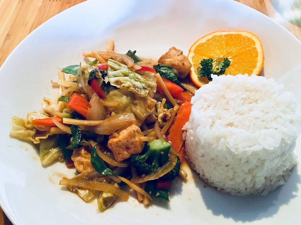 """Photo of Sweet Basil Thai Cuisine  by <a href=""""/members/profile/Clean%26Green"""">Clean&Green</a> <br/>Pad Basil (Kra-Praw) rice plate <br/> January 10, 2018  - <a href='/contact/abuse/image/109200/345180'>Report</a>"""