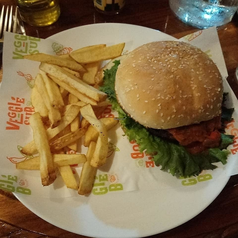 """Photo of Veggie Sub  by <a href=""""/members/profile/KellySlade"""">KellySlade</a> <br/>Vegan Mexican burger and chips  <br/> January 11, 2018  - <a href='/contact/abuse/image/109220/345435'>Report</a>"""