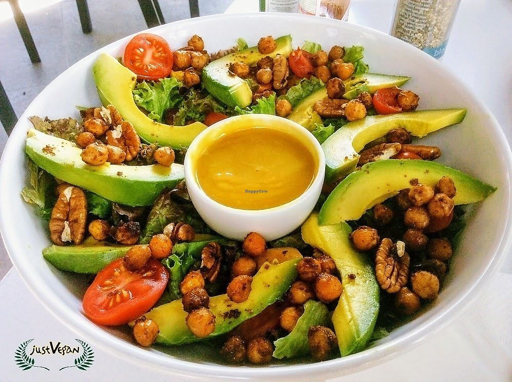 """Photo of Mugg and Bean  by <a href=""""/members/profile/%C5%A0%C3%A1rkaHedstr%C3%B6m"""">ŠárkaHedström</a> <br/>Their vegetarian chickpea & butternut salad is easily veganised. Swap out the feta for avo, the honeyed walnuts for plain ones, and make a request for mustard syrup instead of mustard honey, and hey presto talk of the town!  <br/> January 12, 2018  - <a href='/contact/abuse/image/109238/345838'>Report</a>"""