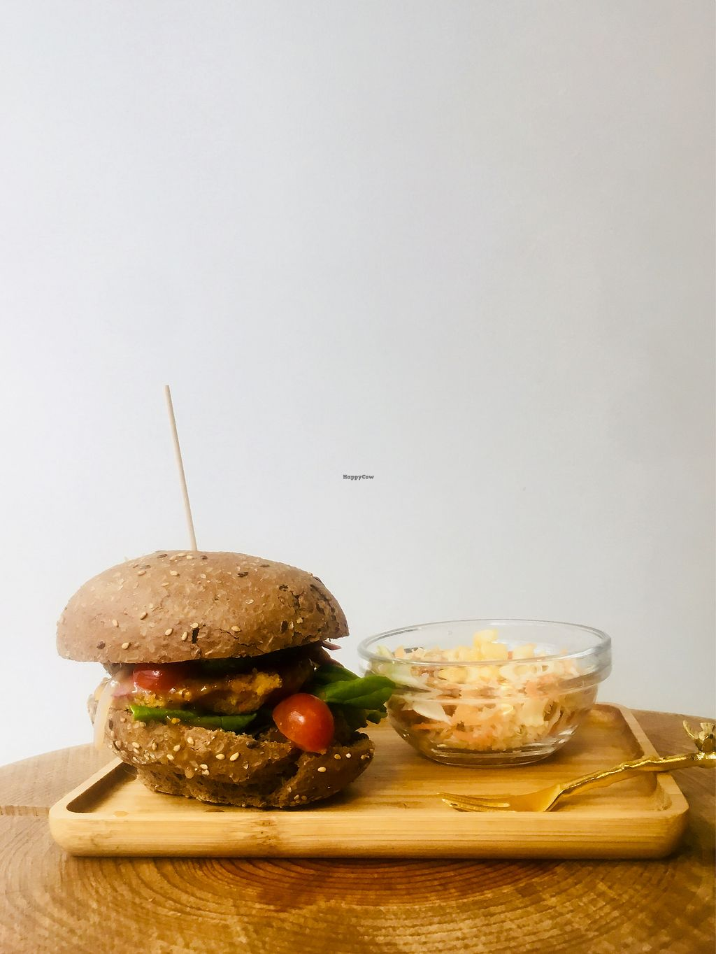 """Photo of Pure Food  by <a href=""""/members/profile/Bananacake"""">Bananacake</a> <br/>Vegan friendly burger with coleslaw salad. Ask for dressing without mustard  <br/> January 11, 2018  - <a href='/contact/abuse/image/109277/345618'>Report</a>"""
