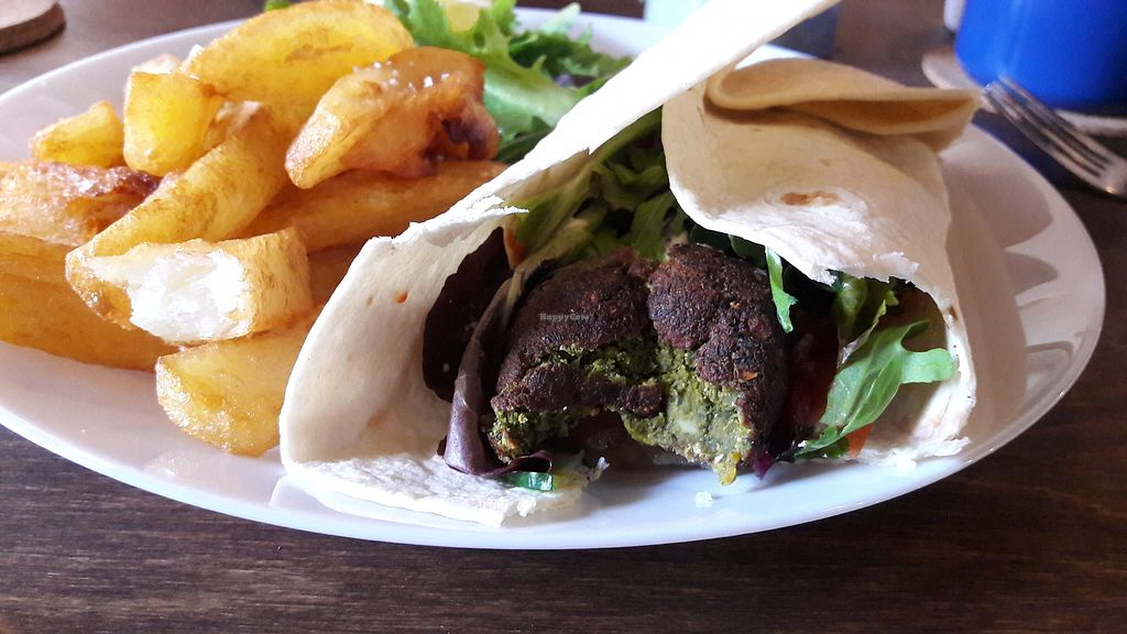 """Photo of One Sixty  by <a href=""""/members/profile/Veganolive1"""">Veganolive1</a> <br/>Falafel wrap and chips <br/> January 31, 2018  - <a href='/contact/abuse/image/109316/353186'>Report</a>"""