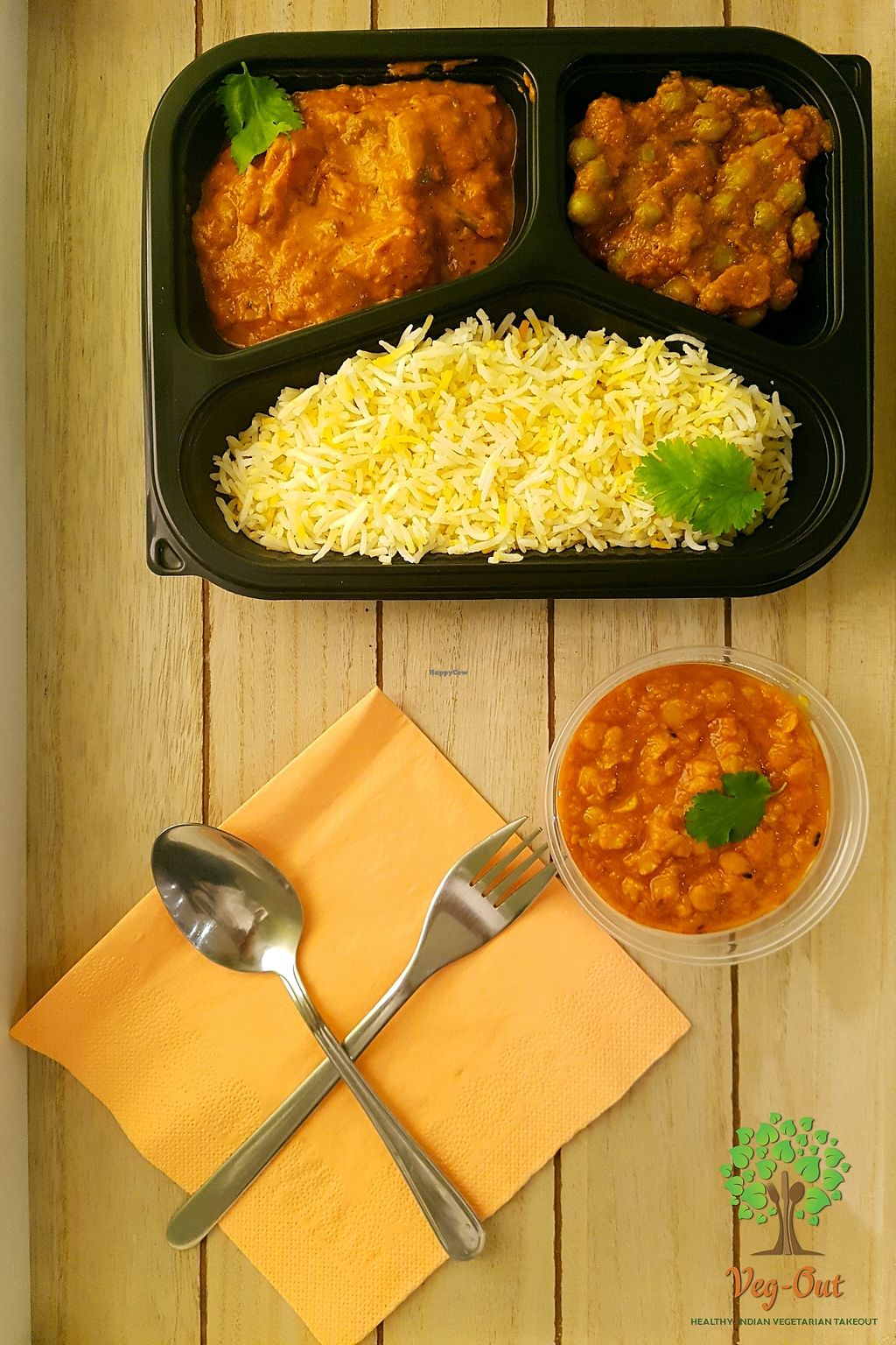 """Photo of Veg-Out  by <a href=""""/members/profile/VegOut-Amsterdam"""">VegOut-Amsterdam</a> <br/>The top seller! Menu box set. 3 different curries with rice or chapathi <br/> January 12, 2018  - <a href='/contact/abuse/image/109336/345847'>Report</a>"""