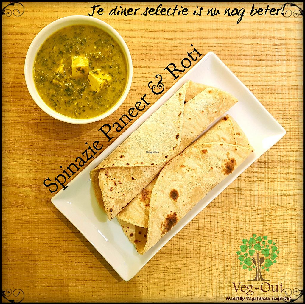"""Photo of Veg-Out  by <a href=""""/members/profile/VegOut-Amsterdam"""">VegOut-Amsterdam</a> <br/>Simple yet tasty Palak paneer and Roti!  <br/> January 12, 2018  - <a href='/contact/abuse/image/109336/345851'>Report</a>"""