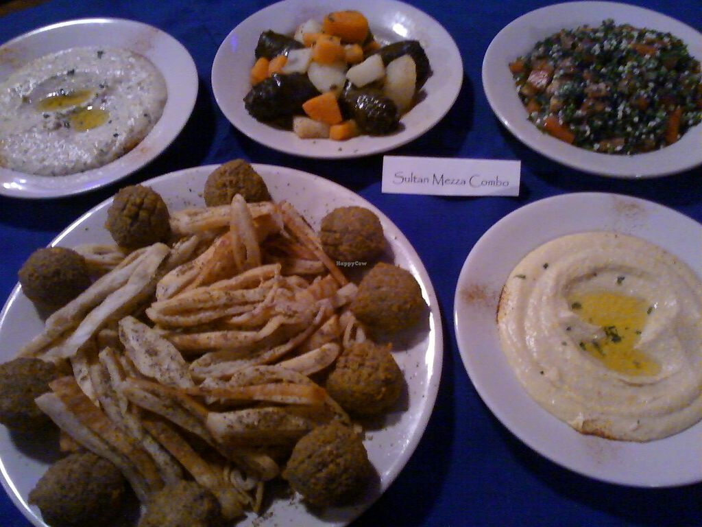 "Photo of Casbah Restaurant  by <a href=""/members/profile/casavegan"">casavegan</a> <br/>Sultan Mezza: stuffed grape leaves, baba ganoush, hummus, falafels, tabuli salad and casa chips! <br/> January 13, 2018  - <a href='/contact/abuse/image/109363/345935'>Report</a>"