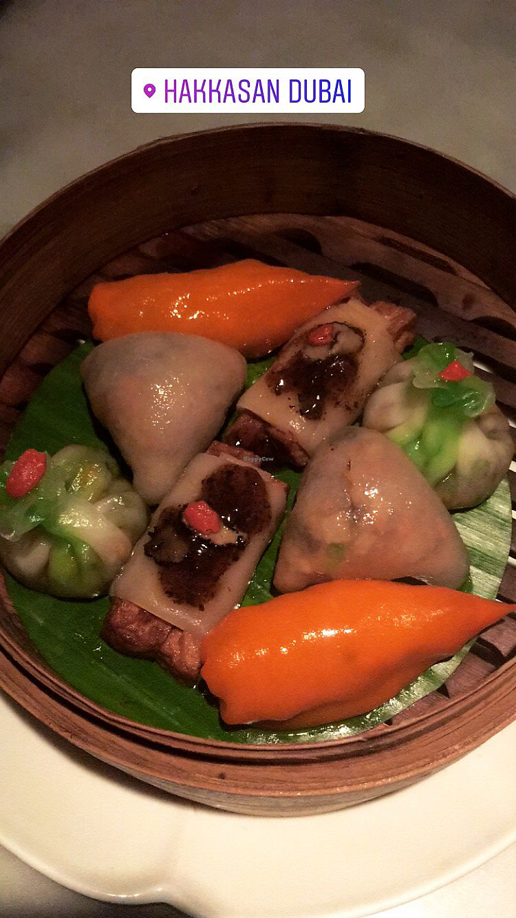 """Photo of Hakkasan  by <a href=""""/members/profile/KimMartin"""">KimMartin</a> <br/>Steamed vegetarian dim sum platter - all vegan <br/> January 14, 2018  - <a href='/contact/abuse/image/109429/346571'>Report</a>"""