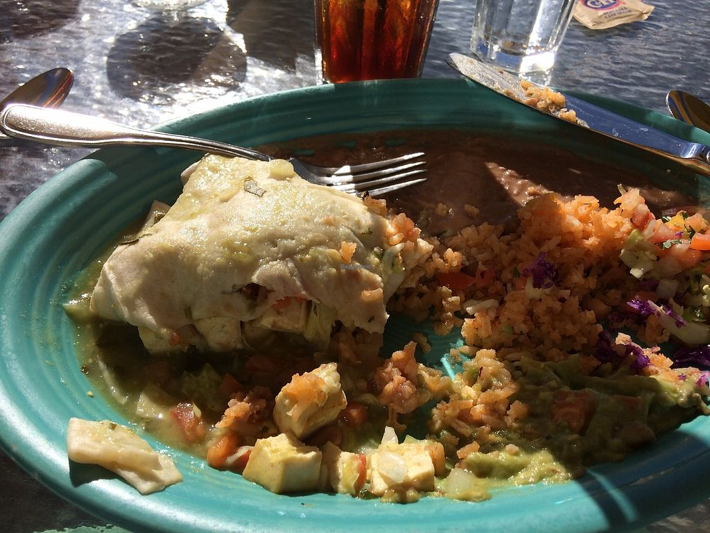 """Photo of Palapas Restaurant y Cantina  by <a href=""""/members/profile/vegblossom"""">vegblossom</a> <br/>Burrito Tofu Verde <br/> January 14, 2018  - <a href='/contact/abuse/image/109456/346382'>Report</a>"""