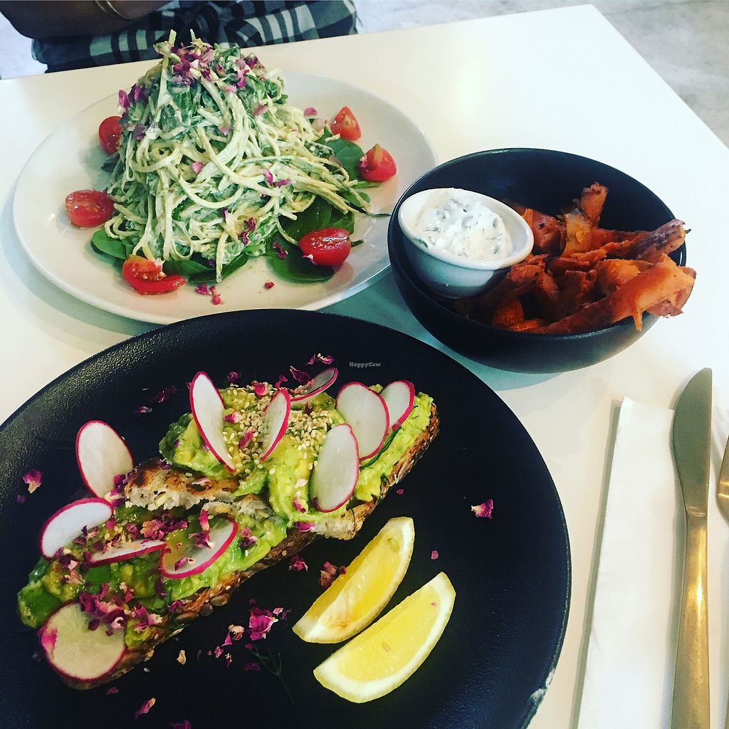 """Photo of The Clean Treats Factory  by <a href=""""/members/profile/jessevelyn"""">jessevelyn</a> <br/>Avo smash, linguini and sweet potato chips <br/> March 10, 2018  - <a href='/contact/abuse/image/109475/368764'>Report</a>"""