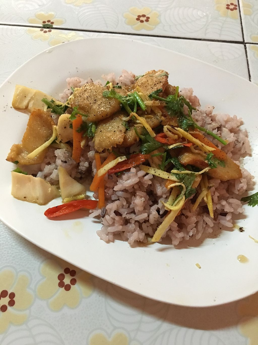 """Photo of Ming Zhen  by <a href=""""/members/profile/onthewindowsill"""">onthewindowsill</a> <br/>Vegan pork with ginger over rice <br/> January 16, 2018  - <a href='/contact/abuse/image/109565/347058'>Report</a>"""
