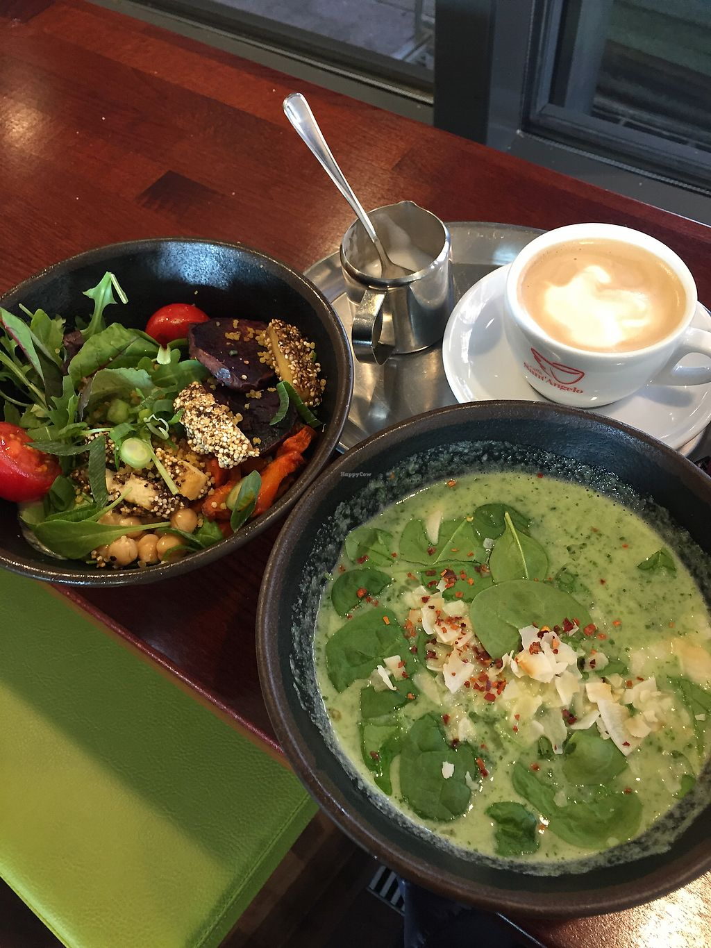 "Photo of Weilands Wellfood  by <a href=""/members/profile/emilysings5"">emilysings5</a> <br/>Spinach coconut milk soup and vegan crunchy tofu bowl <br/> January 15, 2018  - <a href='/contact/abuse/image/109574/347014'>Report</a>"