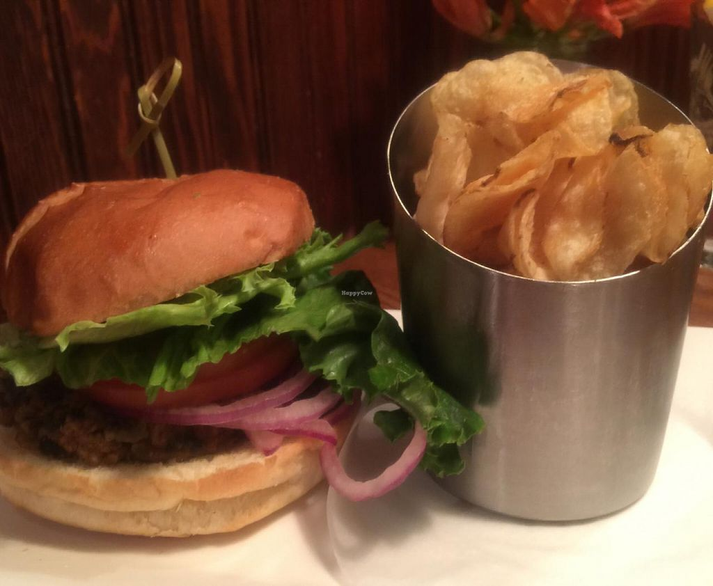 """Photo of The Wildflower Cafe and Crooked Rooster Brewpub  by <a href=""""/members/profile/gwild"""">gwild</a> <br/>black bean burger <br/> July 9, 2015  - <a href='/contact/abuse/image/10958/108724'>Report</a>"""