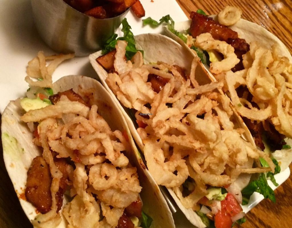 """Photo of The Wildflower Cafe and Crooked Rooster Brewpub  by <a href=""""/members/profile/mikeybutt"""">mikeybutt</a> <br/>Seitan Tacos with Sweet Potato Fries <br/> June 15, 2015  - <a href='/contact/abuse/image/10958/213302'>Report</a>"""
